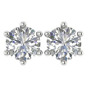 I1 G 5.00 Ct Solitaire Studs Earrings Natural Diamond 14K Solid Gold 6 Prong Set