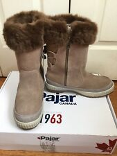 Women Pajar Canada Roll  Down Cuff Faux Fur Waterproof Boots Taupe NWB SZ 9-9.5M