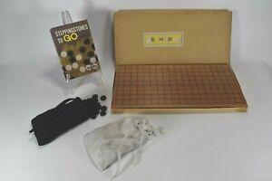 Vintage 1964 Japanese Go Board Game GoIshi Goban Black White Stone Wood Japan
