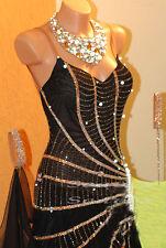 Women Ballroom Party Smooth Waltz Tango Dance Dress US 6 UK 8 Black Green