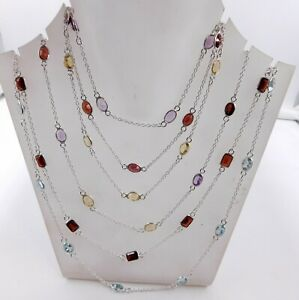 """925 Solid Sterling Silver 7 pc Necklace 30"""" length Multi Cut Stone Necklace M726"""