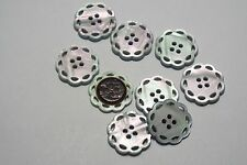 8pc 21mm Blue Mother of Pearl Effect Doily Style Knitwear Cardigan Button 3072