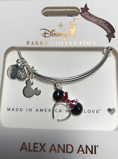 Disney Alex & and Ani Minnie Mouse Headband Red Bow Christmas Silver Bracelet