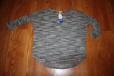 NWT Womens Olive & Oak Black White 3/4 Sleeve Sheer Dolman Sweater Shirt Sz XL
