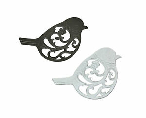 Set of 2 Rustic Cast Iron Open Work Scroll Songbird Table Trivets