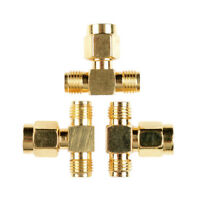 SMA Male to Two SMA Female Triple T RF Adapter Connector 3 Way Splitter 50Ω