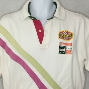 Vintage Tommy Hilfiger Lotus Racing Polo Shirt Patch Size L F1 S94 Castrol Mens
