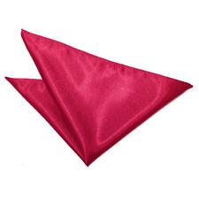 DQT Satin Plain Solid Crimson Red Formal Handkerchief Hanky Pocket Square