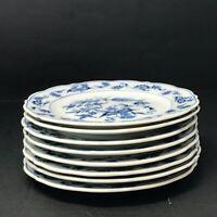 8 pc Set of Blue Danube Japan Porcelain Salad Dessert Plates Vintage c1951-1976