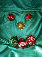 ~ 6 alte Christbaumkugeln Glas rot gold grün Weihnachtskugeln West Germany CBS ~