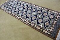 Hand knotted Karastan Wool Afghan Rug Vintage Turkoman runner 3x9.5ft Antique
