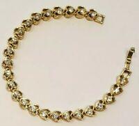 "VINTAGE Clear Rhinestones Hearts Metal Shiny Gold Tone Tennis Clasp 7"" Bracelet"