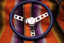 """Mooneyes Blue Metalflake Steering Wheel 13"""" with holes in spokes Rat Fink rod"""
