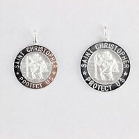 Solid Sterling Silver 925 Saint Christopher Round Medal Icon Pendant Italy Made