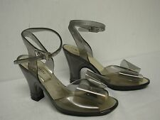 KATE SPADE SEE THRU SMOKEY GREY PLASTIC HIGH HEEL LADIES SHOES with BOW SIZE 7