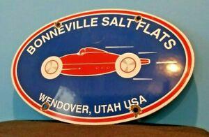 VINTAGE BONNEVILLE PORCELAIN METAL SALT FLATS LAND SPEED AUTOMOBILE SERVICE SIGN