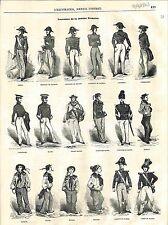 Costume de la Marine Française Amiral Capitaine Frégate & Vaisseau GRAVURE 1848
