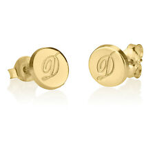 Gold Initial Personalized Engraved Circle Earrings Gold Plated Letter Studs