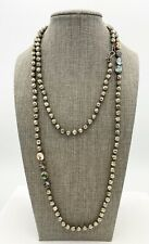 "Chan Luu Pyrite and Abalone Bead 925 Silver 45"" Necklace"
