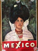 Vintage Mexico Travel Poster Woman of Cuetzalan Lush Greenery 1962