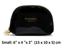 New Authentic Black Chanel PU Patent Cosmetic Makeup Bag Pouch Small Size