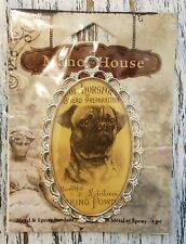 Pug Dog Blue Moon Beads Silver Scallop Framed Drop Focal Pendant with Loops