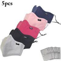 5 Masque de protection tissu coton lavable avec 10 filtres PM 2.5