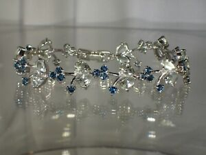 "Green Amethyst London Blue Topaz .925 Silver 14K Gold Plated 7.5"" Bracelet #1094"