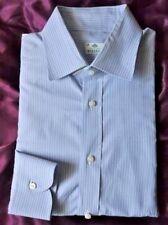 Borrelli Napoli Blue Striped 100% Cotton Dress Shirt  16 /41 sleeves 36/37