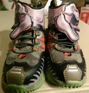 Jurassic World toddler boys size 8 Dinosaur shoes w/lighted bottoms