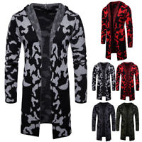 Men's Slim Fit Knitted Cardigan Hooded Sweater Long Trench Coat Jacket Outwear