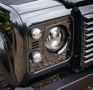 Land Rover Defender Santorini Black Stealth Headlight Surrounds - Uproar 4x4