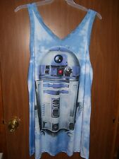 NEW STAR WARS WOMEN'S R2-D2 DROID CHEMISE GOWN SLEEPWEAR 2X SLEEVELESS BLUE