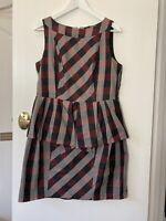 Cue in the City 14 Tartan Peplum dress