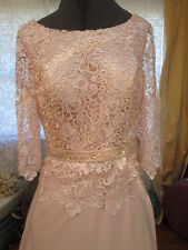 NWT-Pink Lace Satin Couture Wedding Mother of Bride of Bride Wedding Dress Sz 12