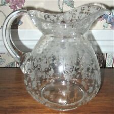 ATGEXTENSIVELY FLORAL CAMBRIDGE ROSEPOINT GLASS ETCHED LARGE CLEAR WATER PITCHER