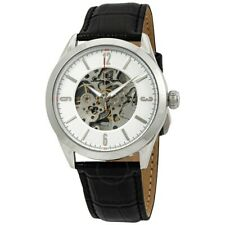 Lucien Piccard Men's Silver Steel Case Black Strap Automatic Watch 10660A-02S-RA