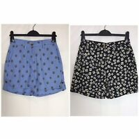 Next Blue or Black Print Linen Blend Pocket Shorts Size 6 - 22  (n-67h)