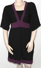NEW Style & Co. Plus 1X Butterfly Sleeve Colorblocked Empire Waist Dress PLUM