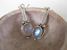 Rainbow Moonstone Silver Earrings ~ Clear with blue flash