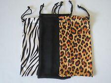 3 Fiber Soft Case Pouch Bag Holder For Sunglasses And Eyeglasses.