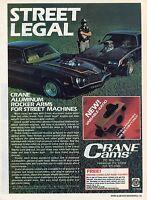 1981 Print Ad of Crane Cams Rocker Arm Chevy Camaro Z28 Firebird Trans Am & Cop