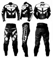 Tuta Pantaloni Giubbotto Pelle Moto YAMAHA R1 R6 Nero