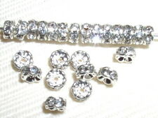 30 Swarovski Rondelle Spacer Beads 5mm Silver/Crystal
