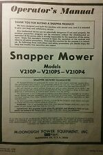 Snapper Lawn Mower V210P V210PS V210P4 Owner, Service, Parts Manual 4pg