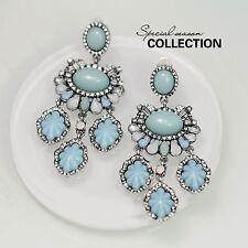 Orecchini CLIP ON Argento Azzurro Blu Cristallo Candeliere Pendente Vintage J2
