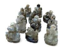 Hand Carved Ganesh Labradorite Lord Ganesha Mini Statue Car Office Table Decor