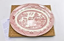 Classic Pink Willow 14\  Serving Platter Churchill of England & Pink Blue Willow China \u0026 Dinnerware | eBay