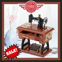 Mini Sewing Machine Vintage Music Box Mechanical Featherweight Singer Case Gift