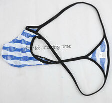 Men's String Micro Thong Bulge Pouch Bikini Stripe Jacquard Mesh Gay Underwear